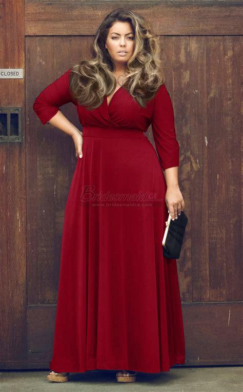 burgundy knitwear v neck plus size bridesmaid dress with sleeve psdca 043