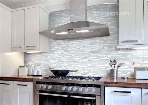 White Kitchen With Backsplash Glass Tile Backsplash White Cabinets 30 Day Money Back