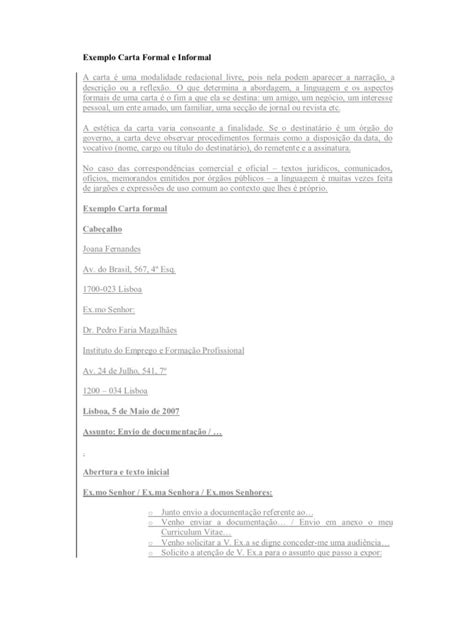 carta formal e informal exemplo carta formal e informal