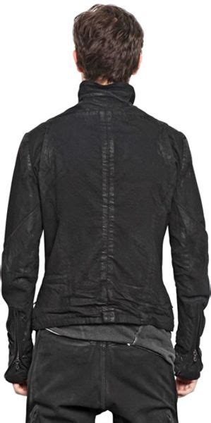 Ripped Washed Jaket julius washed ripped cotton denim jacket in black for lyst