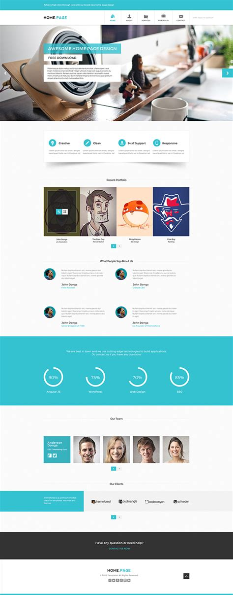 Free Psd Website Template Home Page On Behance Home Page Template