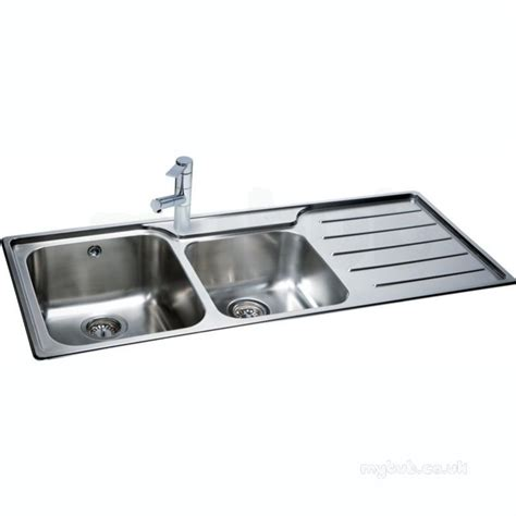 Isis Deep Square Double Bowl Kitchen Sink With Right Hand Kitchen Sink Drainers