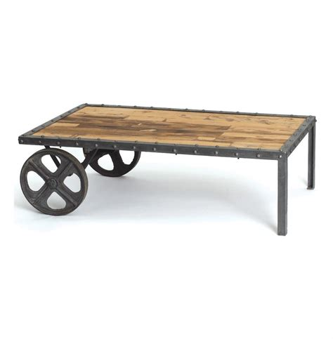 Reclaimed Wood Industrial Coffee Table Reclaimed Wood Vintage Industrial Transfer Cart Coffee Table Kathy Kuo Home
