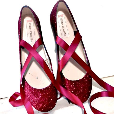 Flat Shoes Ballet Maroon sparkly burgundy maroon glitter ballet flat shoes wedding womens glitter shoe co