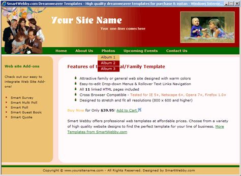 templates for html page general family template