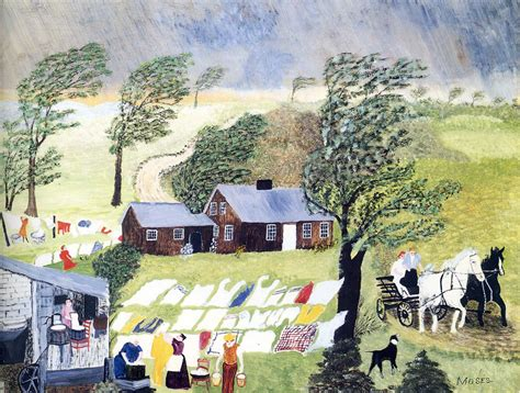 between days red house painters taking in the laundry 1951 grandma moses wikiart org