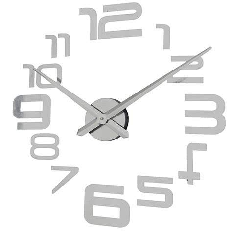 Frameless Intl 3d diy home decor decoration wall clock sticker metal