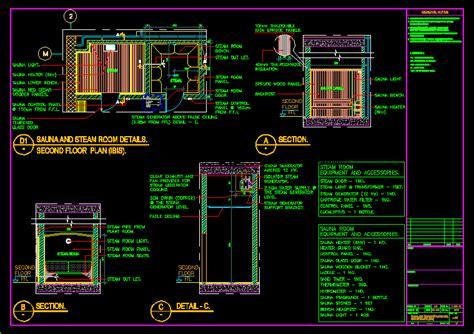 sauna  steam room details dwg detail  autocad