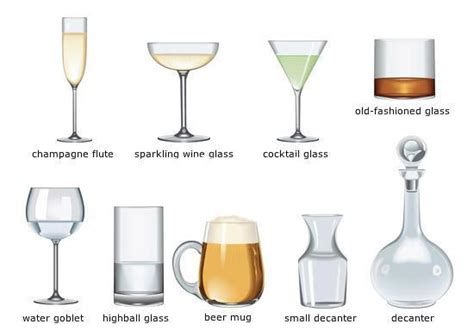barware glasses types different drinking glasses learning english