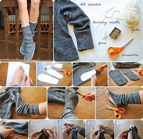 diy socks projects diy insulated socks from sweater home design garden