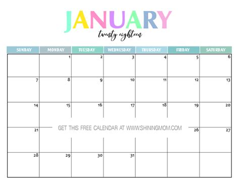 printable calendar pretty free printable 2018 calendar pretty and colorful free