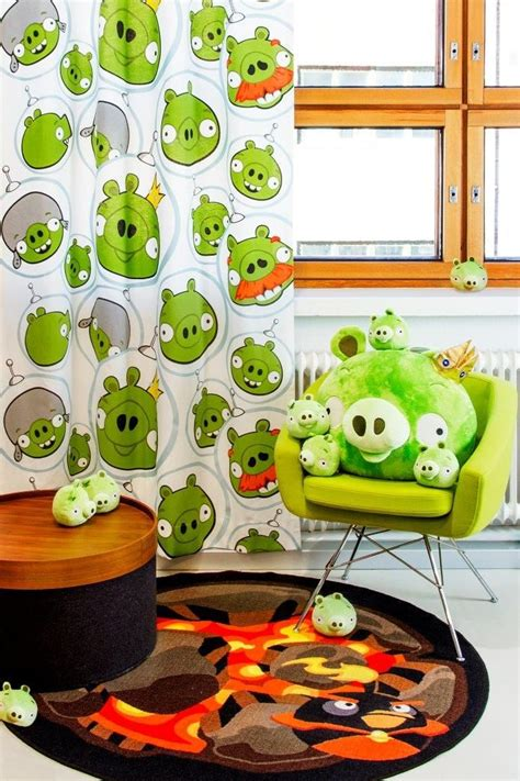 angry birds rug quot space piggies quot curtain and quot space bomb quot rug angry birds interior collection by vallila