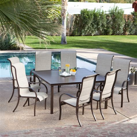 8 Seat Patio Dining Set Coral Coast Deluxe Padded Sling Square Aluminum