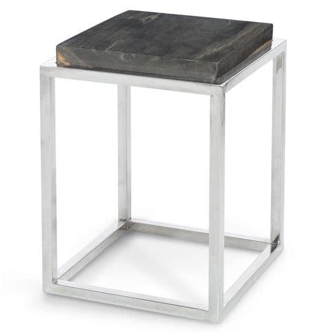 Palecek Pedestal Industrial Loft Petrified Wood Small