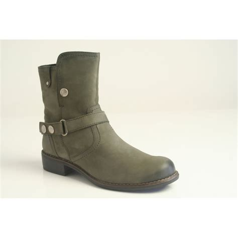 caprice caprice grey leather ankle boot with buckle