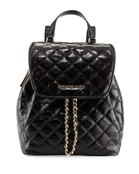 Black Quilted Backpack by Michael Michael Kors Susannah Medium Quilted Backpack In Black Lyst