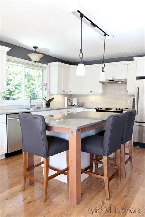 Maple kitchen painted Cloud White, gray quartz, reclaimed