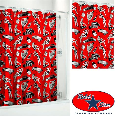 50s curtains fast cars shower curtain rockabilly tattoo punk 50s 60s