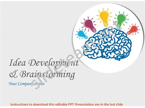 Idea Development And Brainstorming Process Powerpoint Brainstorming Ppt
