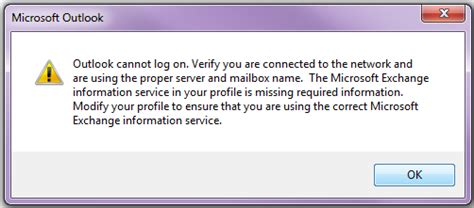 Office 365 Outlook Cannot Logon Verify You Are Connected Outlook Cannot Log On