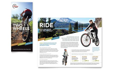 Bike Rentals Mountain Biking Tri Fold Brochure Template Word Publisher Bike Flyer Template Free