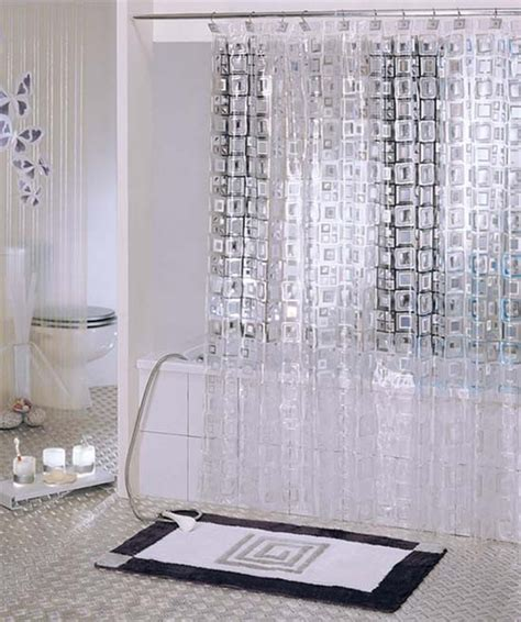 White Transparent Mosaic Pvc Bathroom Shower Curtain Y2601