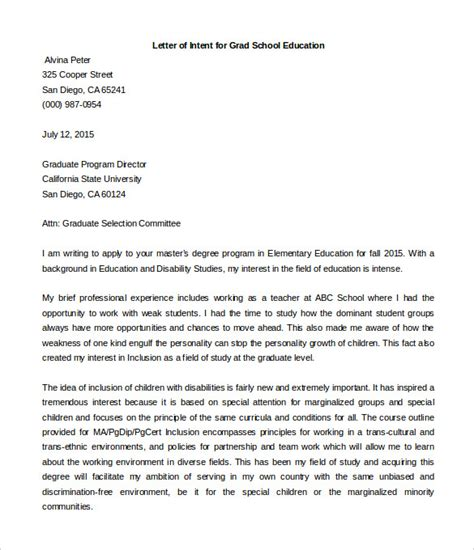 Acceptance Letter Of Intent Sle Letter Of Intent Graduate School Sle Letter Of Intent For Graduate School Hashdoc Letter Of