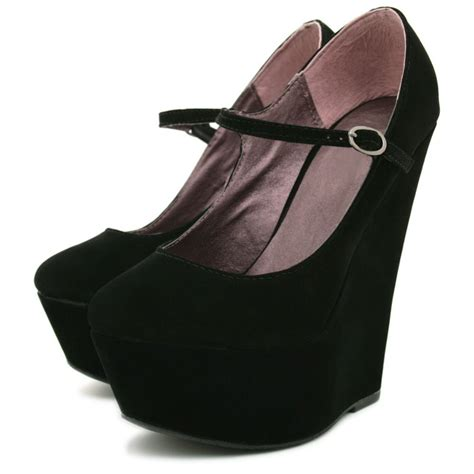 suede style wedge heel platform court shoes