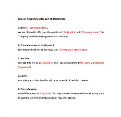 sample appointment letter templates