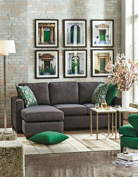 green sofa living room decor 30 green and grey living room d 233 cor ideas digsdigs