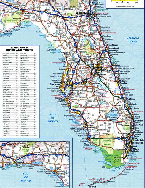 road map of florida florida highway and roadfree maps of us