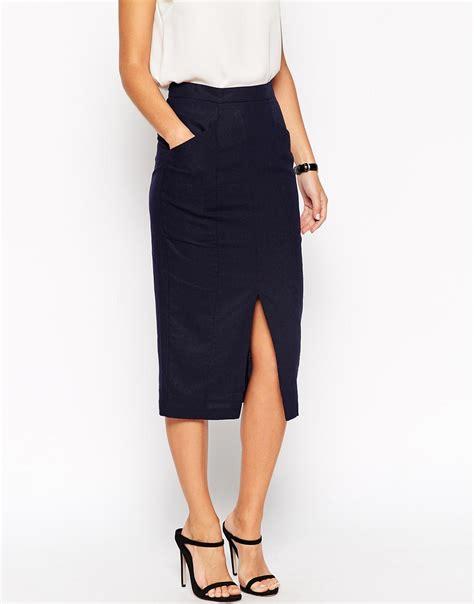 asos linen split front pencil skirt in blue lyst