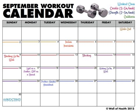 printable calendar exercise 8 best images of printable blank workout calendar free