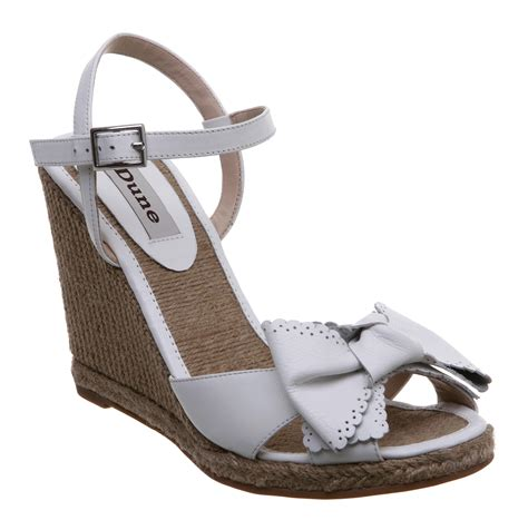 Wedges White Bow new dune womens nero white bow espadrille high