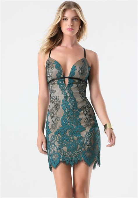 bebe colorful lace dress in green lyst