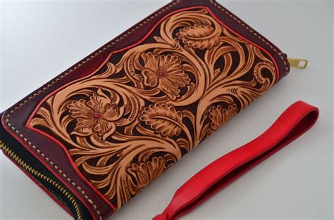 Custom Handmade Leather Wallets - custom made carved leather wallet by rzleathercraft
