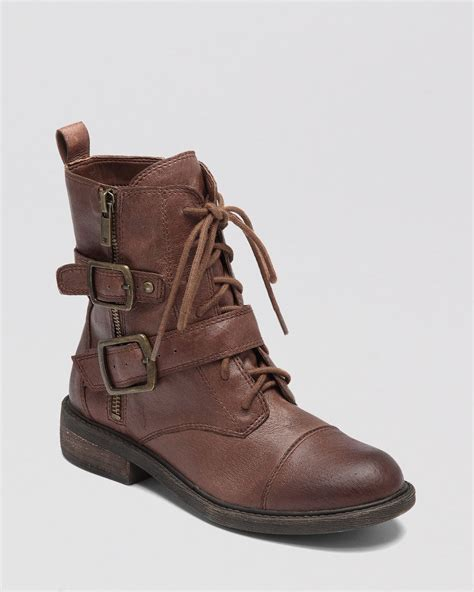 lucky boots lucky brand combat boots nolan in brown lyst