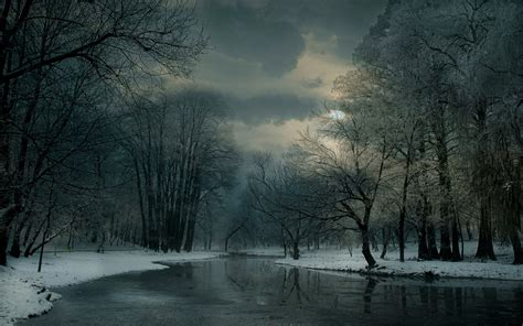 landscape nature winter river clouds snow forest