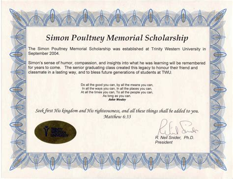 Simon Poultney Memorial Scholarship Twu Memorial Scholarship Application Template