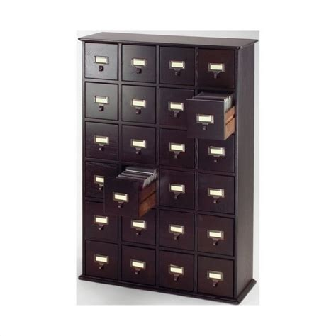 Library File Cabinet Library Card File Multimedia Cabinet In Espresso Cd 456 78
