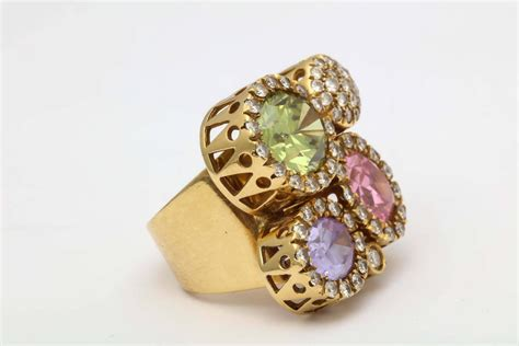 1980s andreoli pastel colored stones gold large