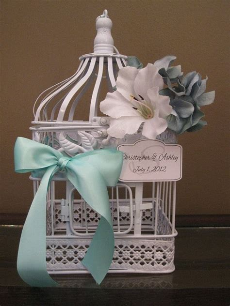 beautiful bird cage and aqua white bird cage card box with aqua decor by