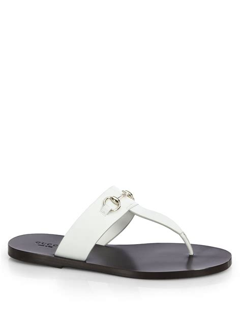 white gucci sandals gucci marcy leather horsebit sandals in white lyst