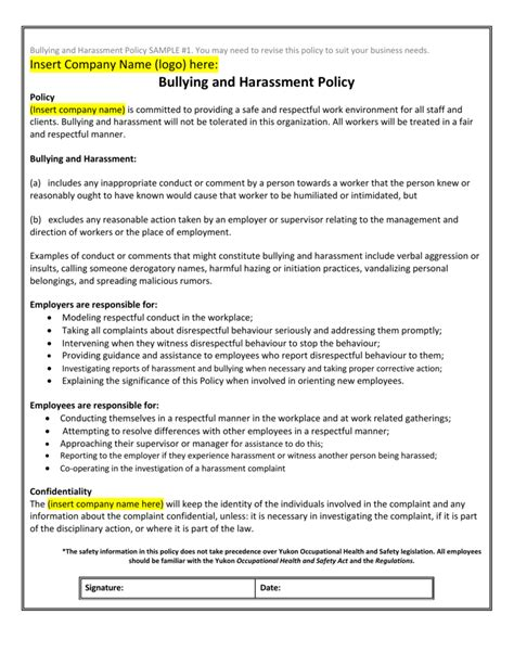 bullying and harassment policy template collection of solutions for bullying and harassment policy