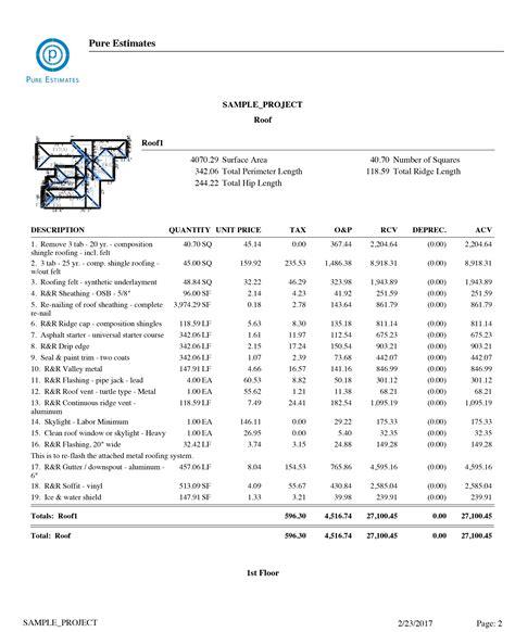 roofing estimate roofing sle estimates insurance estimates