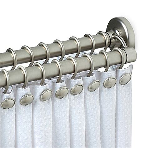 bed bath and beyond double curtain rod zenith satin nickel double tension shower curtain rod