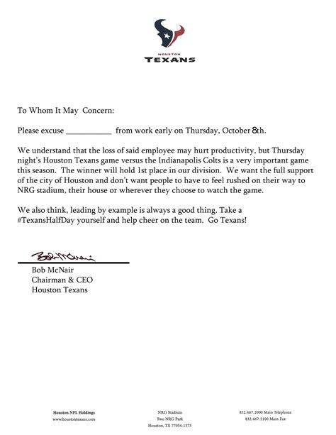 Excuse Letter Not Taking Texans Excuse Note To Leave Work Early For Thursday Football 171 Cbs Houston