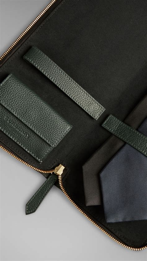 burberry grainy leather tie forest green in