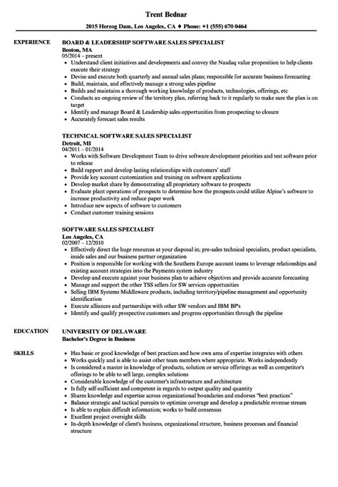 software professional resume sles software sales specialist resume sles velvet