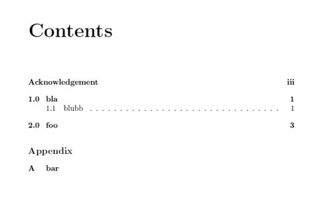 latex no section number table of contents with roman arabic and no page numbers